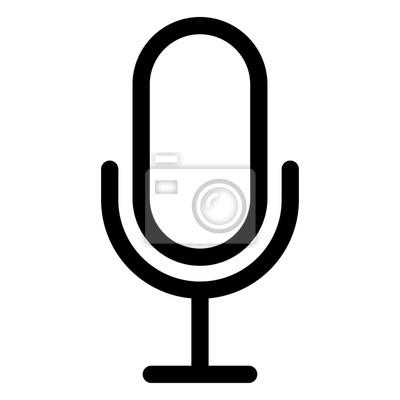 Mikrofon-symbol auf weißem hintergrund fototapete • fototapeten ...