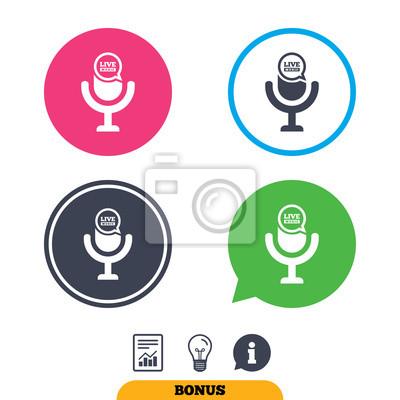 Mikrofon-symbol. lautsprechersymbol. live-musik-zeichen. fototapete ...
