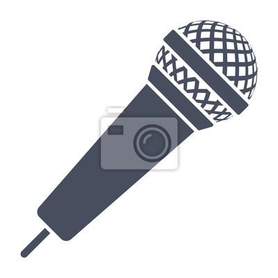 Mikrofon-symbol, schwarz vektor silhouette auf weißem hintergrund ...