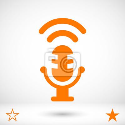 Mikrofon-symbol vektor fototapete • fototapeten Podcast, vocal ...