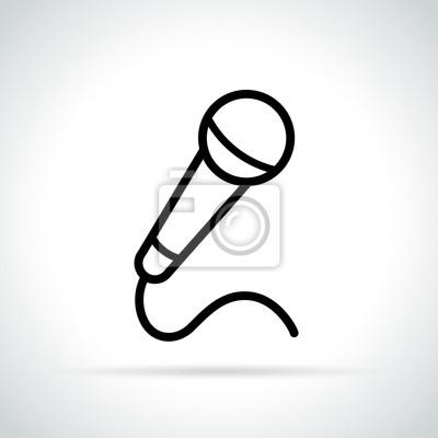 Mikrofonsymbol auf weißem hintergrund fototapete • fototapeten dünne ...