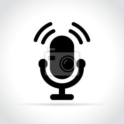 Mikrofonsymbol auf weißem hintergrund fototapete • fototapeten ...