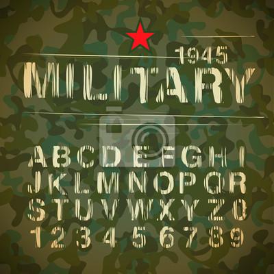 Militärweinlese-Alphabet, Vektor-Illustration eps10.