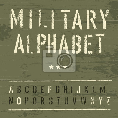 Military Weinlese-Alphabet. Vector, EPS10