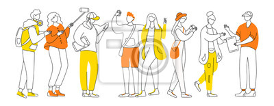 Fototapete Millennials flat contour vector illustration. Teenager culture. Stylish guys, girls. Teen men, women isolated cartoon outline characters on white background. Adolescent cheerful friends simple drawing