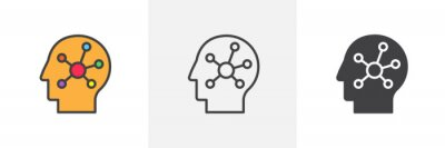 Fototapete Mind map in the human head icon. Line, glyph and filled outline colorful version, Creative think outline and filled vector sign. Symbol, logo illustration. Different style icons set. Vector graphics