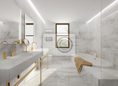 Fototapete Minimal Elegante Luxus Badezimmer, Gold Weißem Marmor