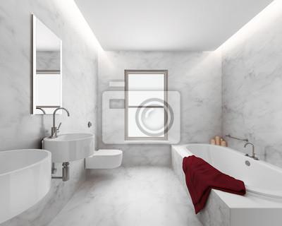 Fototapete Minimal Elegante Luxus Badezimmer, Weißer Marmor Roten Handtuch