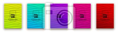Fototapete Minimal fluid covers design wall panel. Halftone colorful realistic 3d relief wave design. Future liquid modern interior gypsum stucco relievo patterns. Eps10 vector background set.