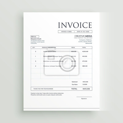 Minimal Saubere Rechnung Formular Vorlage Design Vektor Fototapete