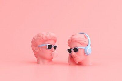 Fototapete Minimal scene of sunglasses and headphone on human head sculpture, Music concept, 3d rendering.