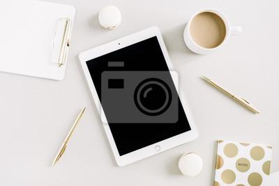 Minimaler Home Office Desktop Auf Pastell Hintergrund Flat Lay