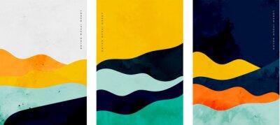 Fototapete minimalist curve lines shape flyer set of three
