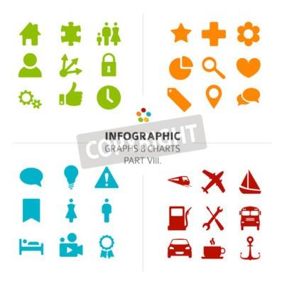 Minimalistic Infografik Vektor-Icon-Sammlung - flache Design-Stil, Teil 8 meiner Infografik-Bundle