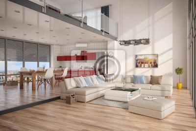 Fototapete Minimalistisch, Modern Eingerichtetes Loft, Mit Wohnzimmer,  Küche Und Essecke.