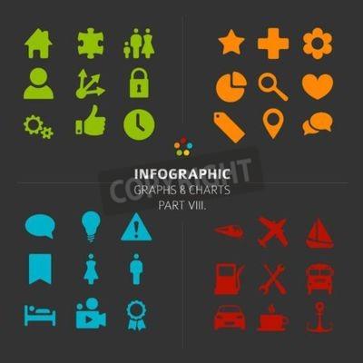 Minimalistische Infografik Vector Icon-Sammlung - flache Design-Stil, Teil 8 meiner Infografik Bundle, dunkle Version
