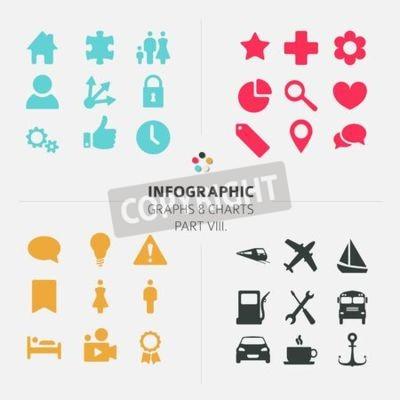 Minimalistische Infographic Vector Icon-Sammlung - flache Design-Stil