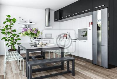 Minimalistische küche mit esstisch fototapete • fototapeten ...