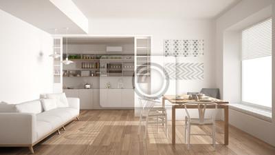 Minimalistische Kuche Und Wohnzimmer Mit Sofa Tisch Und Stuhlen