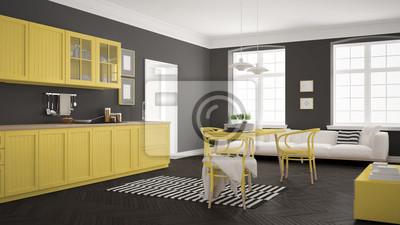 Minimalistische moderne küche mit esstisch und wohnzimmer, weiß ...