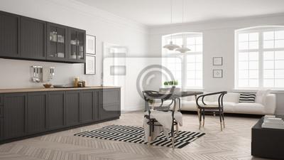 Minimalistische Moderne Küche Mit Esstisch Und Wohnzimmer Weiß