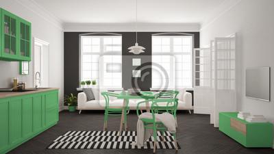Fototapete: Minimalistische moderne küche mit esstisch und wohnzimmer, weiß