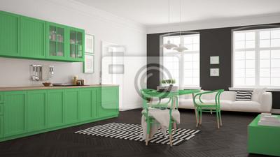 Fototapete Minimalistische Moderne Küche Mit Esstisch Und Wohnzimmer, Weiß  Und Grün Skandinavische Innenarchitektur