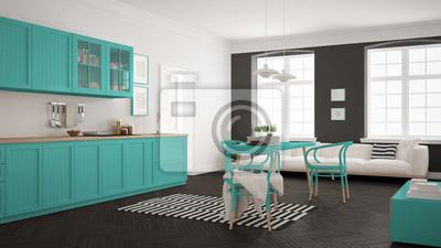 Minimalistische Moderne Kuche Mit Esstisch Und Wohnzimmer Weiss