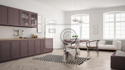 Minimalistische moderne küche mit esstisch und wohnzimmer ...
