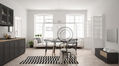 Minimalistische moderne küche mit esstisch und wohnzimmer, weiße ...