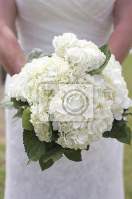 Minimalistische Weisse Hortensie Hochzeit Brautstrauss Fototapete