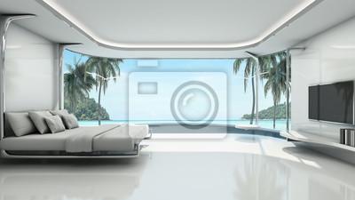Minimalistischen schlafzimmer hintergrund nehmen blick meer -3d ...