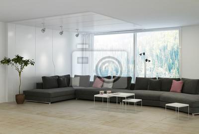 Minimalistischen Wohnzimmer Mit Schwarzen Couch Mit Kissen
