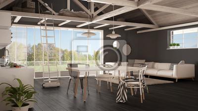 Fototapete Minimalistischer Mezzanine Loft, Küche, Wohn  Und Schlafzimmer,  Holzdach Und Parkettboden,