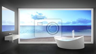 Minimalistisches weißes und graues badezimmer mit großem ...