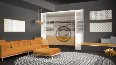 Minimalistisches wohnzimmer mit sofa, großer runder teppich ...