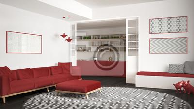 Fototapete: Minimalistisches wohnzimmer mit sofa, großer runder teppich und
