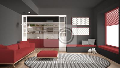 Fototapete Minimalistisches Wohnzimmer Mit Sofa Grosser Runder Teppich Und