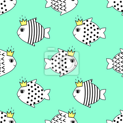 Fototapete Mint seamless pattern with smiling fish for kids holidays. Cute baby shower vector background. Child drawing style.