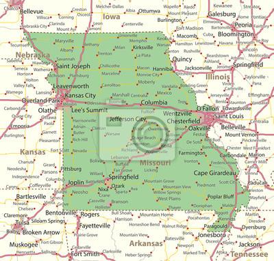 Fototapete: Missouri-us-staaten-vectormap-a