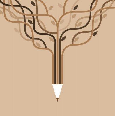 Fototapete mit Bildung Symbole und Banner der Bleistift.