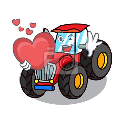 Mit Herz Traktor Maskottchen Cartoon Stil Fototapete Fototapeten