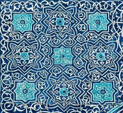 Fototapete Mit Ziegeln gedeckter Hintergrund mit orientalischen Ornamenten