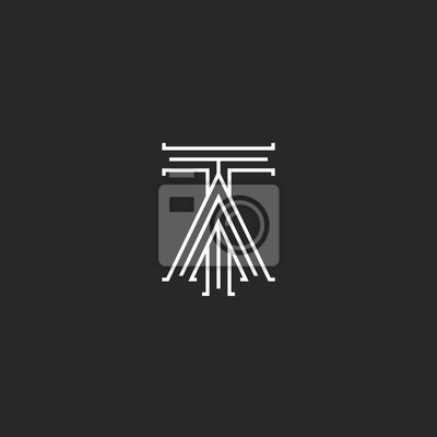 Fototapete Mittelalterliches Monogramm TA Logo, Verknüpfte Initialen T Und  Ein Großbuchstaben Kreuzung Dünne Linien Stilvolle