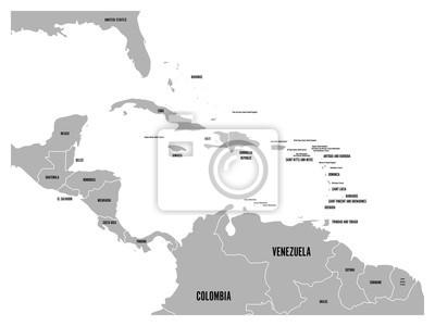 Mittelamerika Karte Staaten.Fototapete Mittelamerika Und Karibik Staaten Politische Karte In Grau Mit