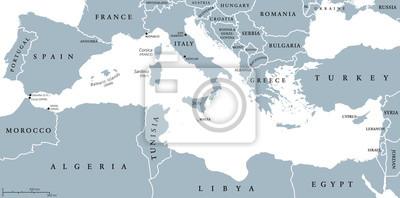 Mittelmeer Karte Europa.Fototapete Mittelmeer Region Lander Politische Karte Mit Nationalen Grenzen