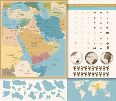 Fototapete Mittlerer Osten und Westasien-Karte Weinlese-Farben