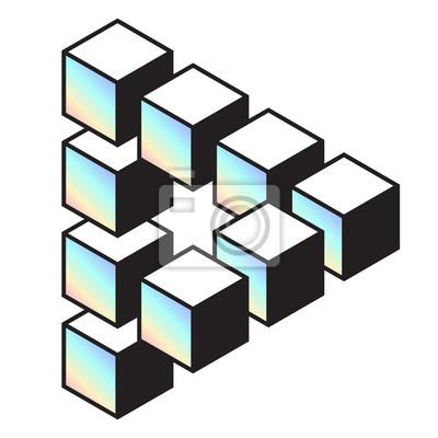 Mittleres penrose-dreieck aus 10 blöcken. isometrische würfel ...