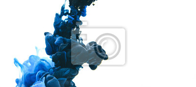 Fototapete Mix of black and classic blue ink in water on an isolated white background with copy space.