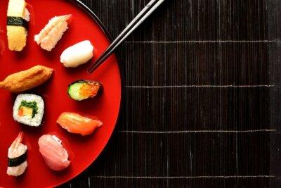 Fototapete Mixed sushi platter with chopsticks